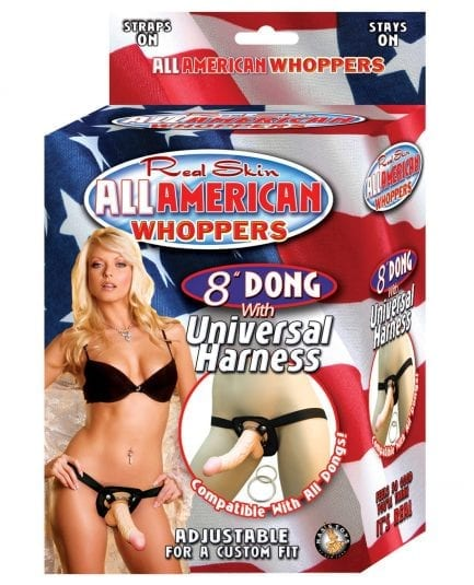 """Real Skin 8"""" Dong All American Whoppers w/Universal Harness"""