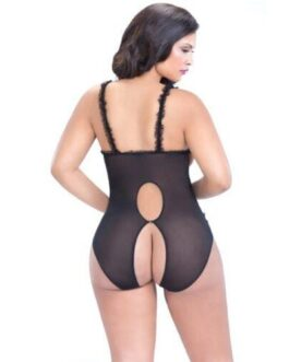 Lace Open Cup & Crotchless Teddy Black QN