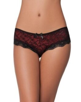 Cage Back Lace Panty Black/Red X/L