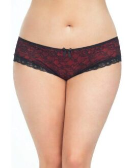 Cage Back Lace Panty Black/Red 3X/4X