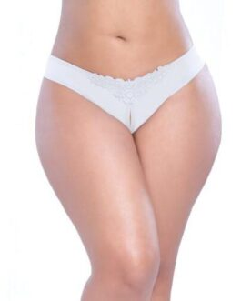 Crotchless Thong w/Pearls White 3X/4X