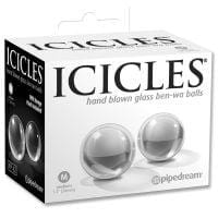 Icicles No. 42 Hand Blown Glass Medium Ben Wa Balls – Clear