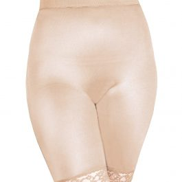 Rago Shapewear Long Leg Shaper w/Gripper Stretch Lace Bottom Beige 5X