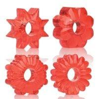 Basic Essentials Rings – Red Set of 4