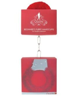 Shots Ouch Beginner's Handcuffs Furry – Red