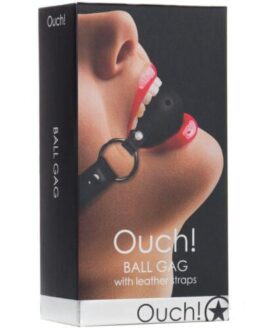 Shots Ouch Ball Gag w/Leather Straps – Black