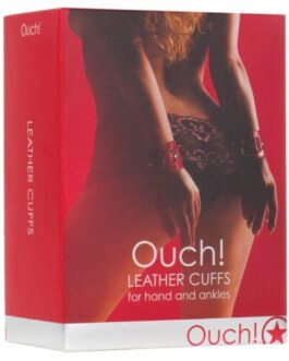 Shots Ouch Leather Cuffs – Red
