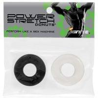 Ignite Power Stretch Donut Cock Ring – Clear/Black Pack of 2
