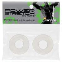 Ignite Power Stretch Donut Cock Ring – Clear Pack of 2