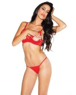 Lace Underwire Open Tip Bra w/Adjustable Straps & Back Red 32