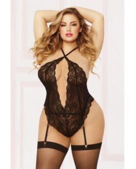 Galloon Lace Teddy w/Adjustable Straps, Removable Garters, Snap Crotch & Thigh Highs Black QN