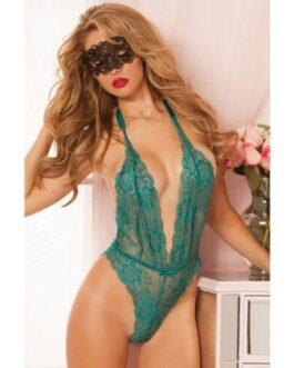 Floral Lace Teddy w/Halter Satin Ribbon Ties & Snap Crotch Emerald O/S