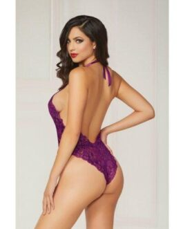Floral Lace Teddy w/Halter Satin Ribbon Ties & Snap Crotch Purple O/S