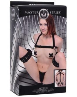 Master Series Acquire Easy Access Thigh Harness w/Wrist Cuffs – Black