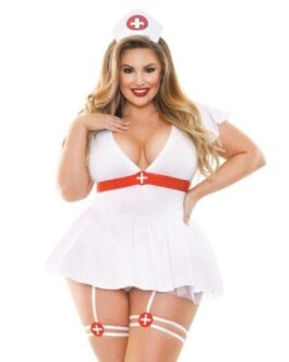 Curve Bedside Nurse Set w/Dress, Nurse's Hat & Panty White 1X/2X
