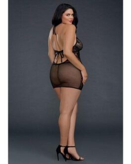 Sheer Lace Chemise w/G-String Black QN