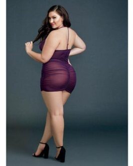 Ruched Sheer Front Zipper Chemise w/G-String Plum QN