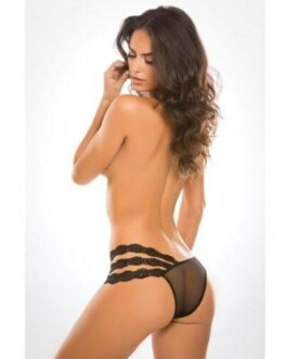 Adore Sheer & Lace Wild Orchid Panty Black O/S