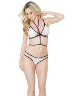 Fashion Stretch Lace Bralette & Crotchless Panty w/Harness White/Black O/S