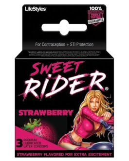 Contempo Sweet Rider Condoms – Strawberry Pack of 3