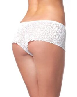 Low Rise Stretch Scallop Lace Booty Short White XL