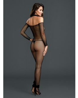 Fishnet Off the Shoulder Bodystocking w/Attached Collar Black O/S