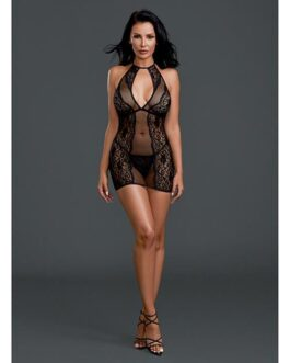 Sheer Lace Chemise w/G-String Black O/S