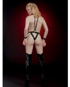 Fetish Open Body Teddy w/Chained Pasties & Restraints Black O/S