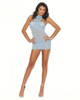 Mesh Cami w/Ruching at Bodice, Neck Closure & Mesh G-String Baby Blue MD
