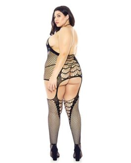 Halter Spider Web Fishnet Bodystocking Black QN