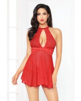 Lace Mesh Babydoll w/Strappy Waist & Panty w/Criss Cross Waistband Red SM