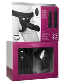 Body Extensions Be Naughty Vibrating 4 Piece Strap On Set – Black