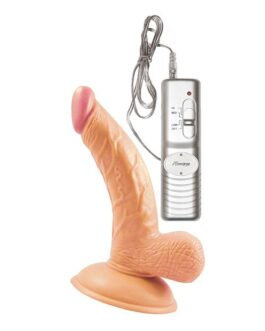 All American Mini Whoppers Vibrating 5″ Curved Dong w/Balls – Flesh