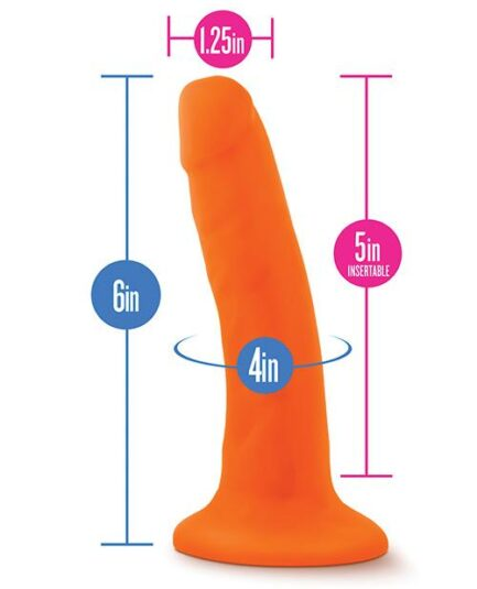 "Blush Neo Dual Density 6"" Cock - Neon Orange"